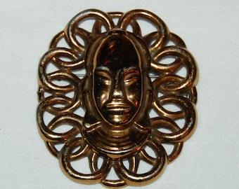 50s Exotic Face Brooch Huge Statement Pin Goldtone Figural Tribal Elegance
