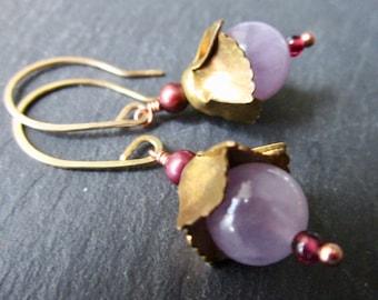 Lilac Amethyst Garnet & Pearls Belle Fleur Earrings - Vintage brass - Etsy Accessories - Jewelry - Flower - catROCKS - Purple - Gold Fill