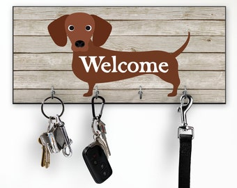 Dog Key Holder for Wall, Dachshund Wall Decor, Welcome Sign Key Hanger Key Hooks Rack, Housewarming or Dog Lover Gifts, Doxie Wiener Weiner