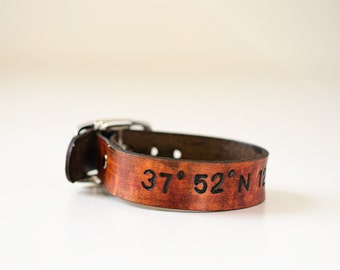 Latitude and Longitude Leather Cuff with Adjustable Buckle