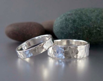 Hammered Sterling Silver Wedding Band - Choice of 2 to 8mm Wide Wedding Ring