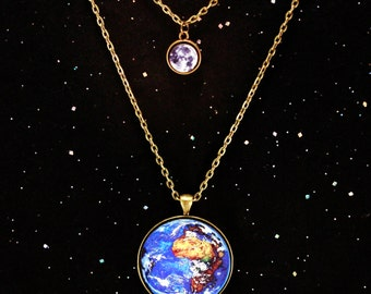 Planets Earth and Moon Necklace Science Jewelry- Mothers Day Gift