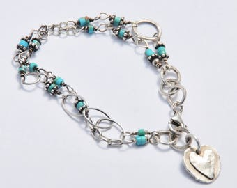 Turquoise Sterling Bracelet with HEART Charm hand crafted Chain // DOUBLE (2) strand wire wrapped // Oxidized Silver
