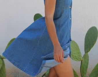 Vintage 90's denim blue button down sleeveless dress.size xs