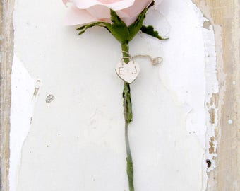 Vintage Pink Rose 2nd Wedding Anniversary Long Stem Rose Gift for Wife by Cotton Bird Designs