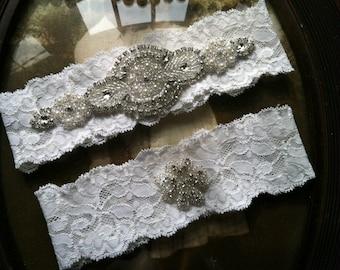 Wedding Garter - Ivory Lace Garter Set - Rhinestone Garter - Vintage - Applique Garter - Bridal Garter - Vintage Garter - Toss Garter