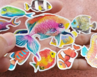 12+1 Watercolor Fish Sticker for your Planner Decorating, Journaling, or Crafting
