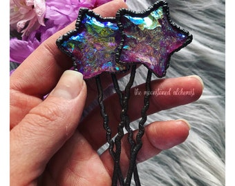 Aura Quartz Hair Pin - hand chipped aura quartz star set in hand forged copper - dark fairy wand stick