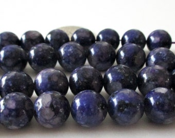 "Dark Purple Jasper Beads - Mosaic Round  Beads - Natural Smooth Stone - Drilled Snake Skin Beads - 12mm - 16"" Strand - DIY Unisex Bracelets"