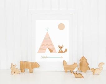 Nursery Art Print  8x10 Fox and Teepee Recycled Paper Office Decor Wall Art Prints for Kids Teepee Art Nursery Decor nursery art
