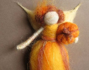 Needle felted Fall Fairy with pumpkin
