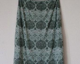 90s vintage green midi skirt flower pattern