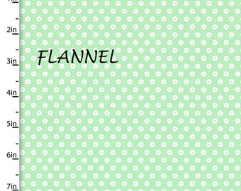 Mint Dot Flannel Fabric, Mint Quilt Flannel, 3 Wishes Playful Cuties 13006, Mint & White Flannel, Cotton Flannel Yardage