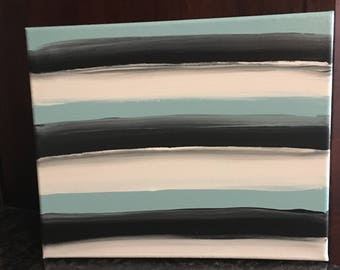 hand painted acrylic abstract striped canvas, blue white black gray, canvas painting, stripes