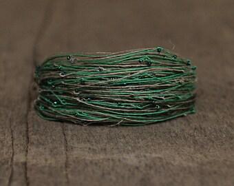 Green bracelet, Linen bracelet, Magnetic Bracelet, Seed Beaded Bracelet, Gift for Wife, Unique Jewelry, Handcrafted Bracelet, Soft Jewelry