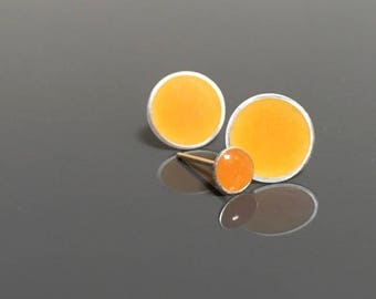 ORANGE stud earrings CLEMENTINE sterling silver resin post earrings . circle earrings . modern jewelry . minimal earrings . sunny earrings