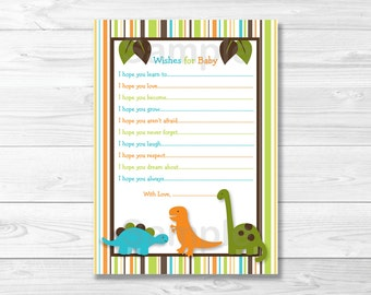 cute dinosaur wishes for baby cards dinosaur baby shower baby shower wishes baby boy shower printable instant download a346