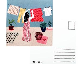 Illustration postcard - Laundry day