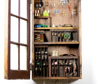 Jewelry organizer, Jewelry display, jewelry storage,  jewelry holder, Jewelry closet, jewelry cabinet..... Handmade by TangleandFold