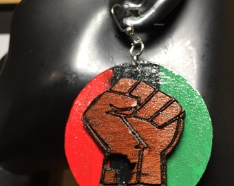 Small Pan African AfroFist Earrings