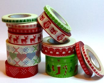 Washi Paper - Masking Tape set of 12 x 10 m - winter-Christmas print