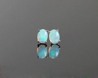 Ethiopian Opal Stud Earrings - Sterling Silver Opal Earrings, Oval Opal Earrings, Opal Studs, Opal Earrings Silver, October Birthstone