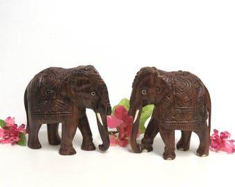 Exotic Elephants Wooden Sculpture Pair/ Carved Wood Jungle Animal Figures/ Boho Decor