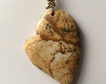 Picture Jasper Heart Pendant