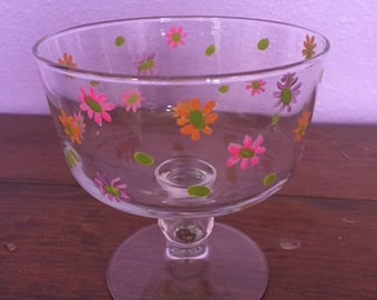 Hand painted spring flower glasswear