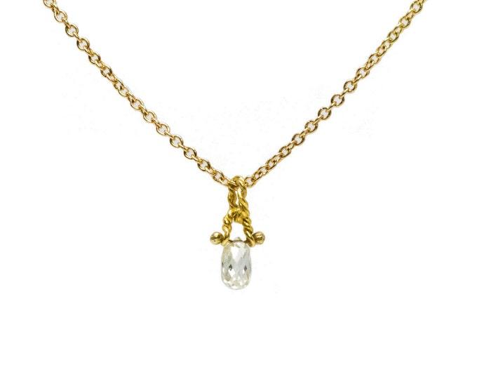 Diamond Droplet Solitaire Necklace
