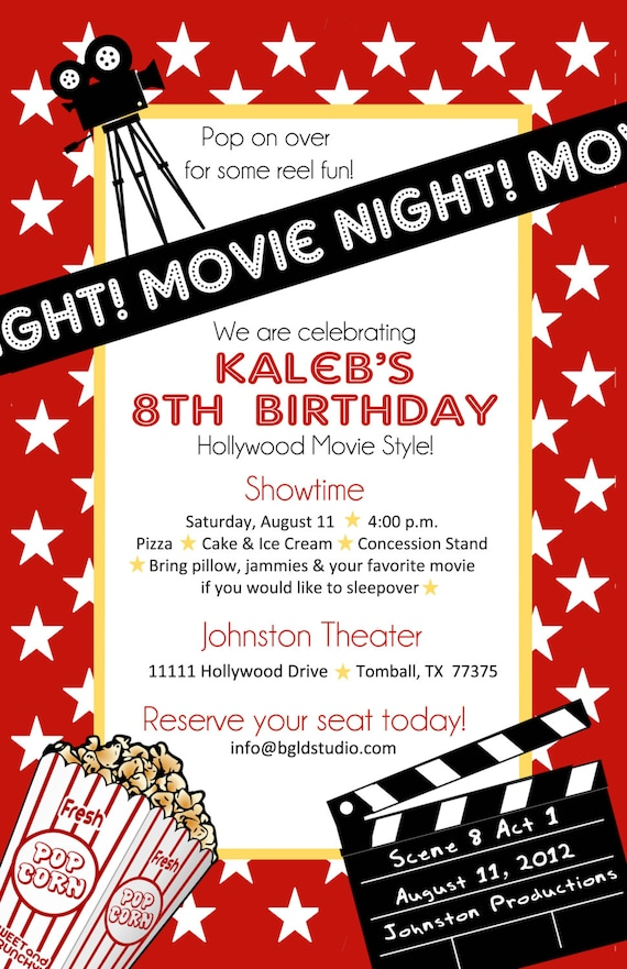 Items similar to Printable File Movie or Hollywood themed Birthday
