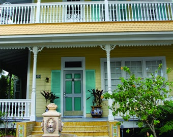 Key West, Florida Porch - Vintage Yellow House with Fountain
