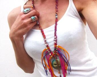 Bohemian leather fringe necklace, agate druzy necklace, boho chic statement necklace, sari silk necklace, multicolor festival ibiza ethnic