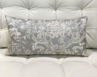 Lumbar Pillow Cover Grey Pillow Cover Decorative Pillow Throw Pillow Cover Oblong Medallion Cushion Cover 12x24 12x21 12x18 12x16 10x20