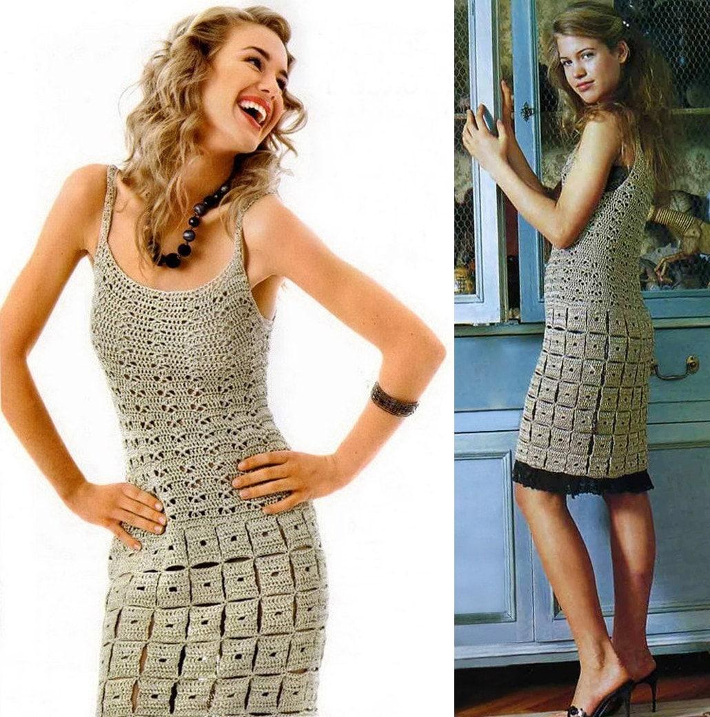 Crochet dress PATTERN crochet mini dress pattern description