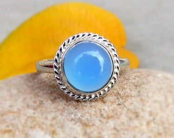 Blue Chalcedony Ring, Sterling Silver Rope Edged Ring, Blue Stone, blue cabochon ring, Blue Chalcedony Silver Jewelry, Chalcedony rings