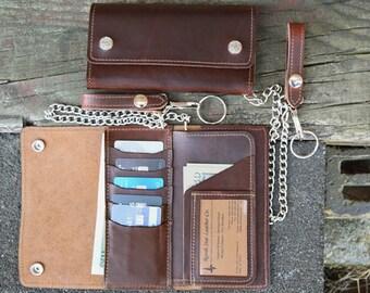 Horween Leather Creditcard Trucker Wallet, Chain Wallet, Biker Wallet