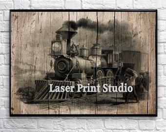 Train Gift For Him Train Wall Art Steam Engine, Train Art Print, Poster Art, Train Decor, Train Gift Poster, Man Cave 2