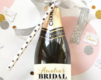 Custom Bridal Shower Mini Champagne Bottle Labels - Weatherproof  Wedding Shower Favors Thank You Bachelorette Party Decorations