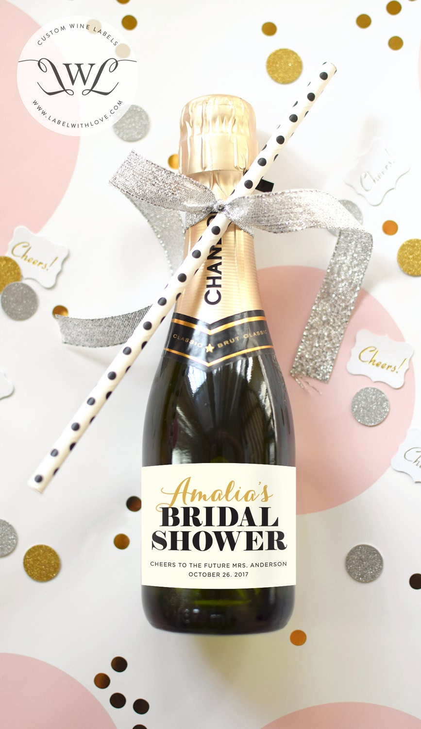Custom Bridal Shower Mini Champagne Bottle Labels