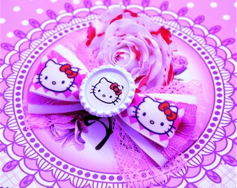 Hello Kitty Hair Bow Pink White Bow Kitty Hair Clip Girl Hair Bow Hello Kitty Birthday Hello Kitty Party Hello Kitty Outfit Gift For Girl