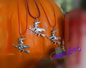 Ball Chain Necklaces, Halloween, Flying Witch