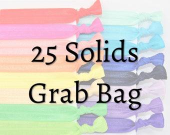 Hair Ties ~ 25 Pack Solid Hair Ties GRAB BAG Handmade Trendy Ponytail Holders Knotted Stretchy Elastic Yoga Bands missponytail