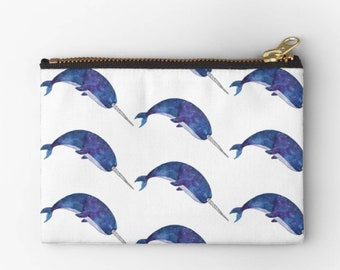 Pouch, narwhal case, cosmetic case, coin purse, whale illustration, fabric pouch, zip pouch