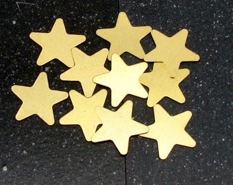 20mm Brass 5-Point Star 24 Gauge  Pack of 10