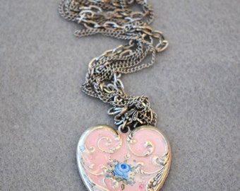 Pink Enamel Heart Necklace Artisan Made Multi Chain Vintage