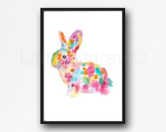 Rabbit Print Rainbow Easter Bunny Print Rabbit Watercolor Painting Art Print Wall Decor Wall Art Bedroom Home Decor Bunny Art Print Unframed