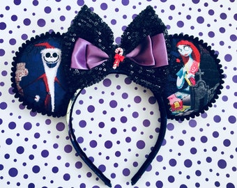 Handmade Mouse Ears Headband - Nightmare Before Christmas Themed