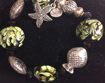 S JO 925 Glass and Silver Beaded Elastic Stretchy Bracelet w/ Fish and Starfish Beads/Charms