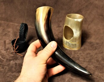 Drinking horn, with horn stand and belt holster, deluxe Viking edition